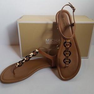 Michael Kors Mahari Brown Leather Thong Sandals 9